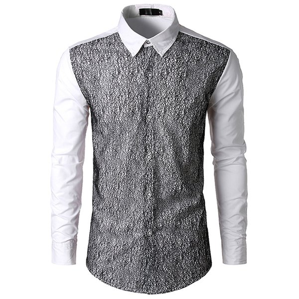 Mesh Design Novelty Male Shirt Korean Style Loose Tops Turn-down Collar Long Sleeve Blusa Handsome Boys Patchwork Casual Shirts