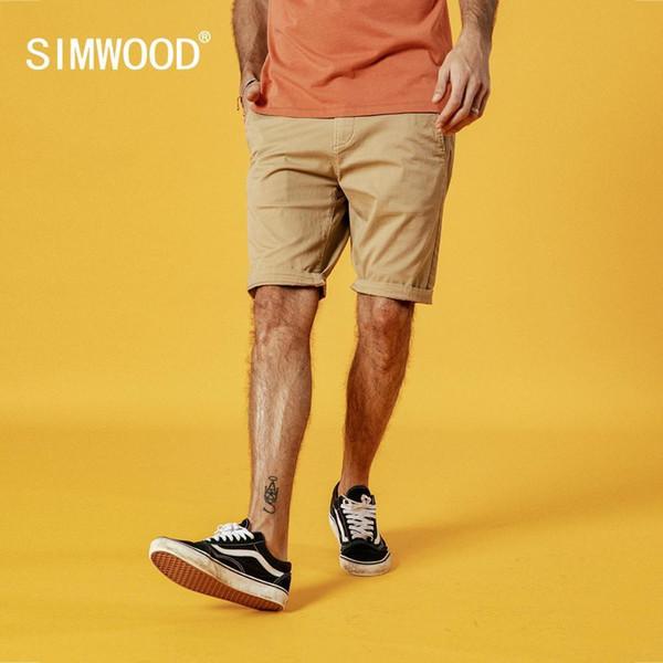 Simwood 2019 Yaz Yeni Katı Şort Erkekler Pamuk Slim Fit Diz Boyu Casual Erkek Giysileri Yüksek Kaliteli Artı Boyutu 9 Renk Mevcut MX190718