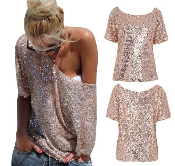Magliette signore sexy spalle delle donne paillettes Top partito Streetwear autunno casual T allentati camiseta mujer