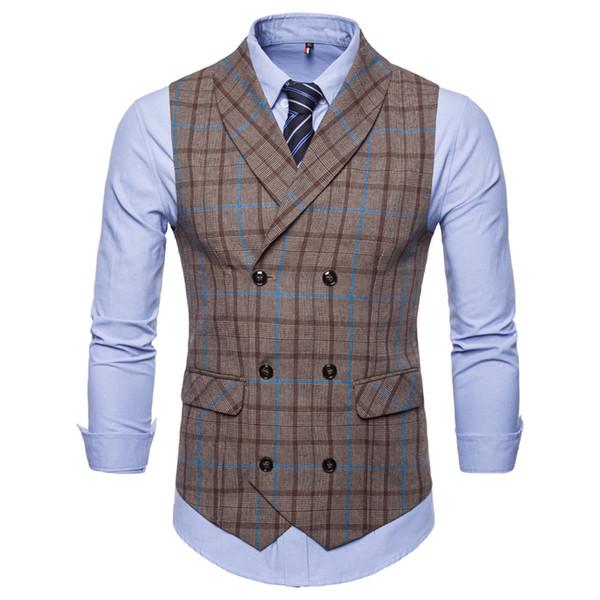 New High Quality Men Suit Vest Slim Double Breasted Waistcoat Gilet Business Social Blazer Wedding Groom Best Men
