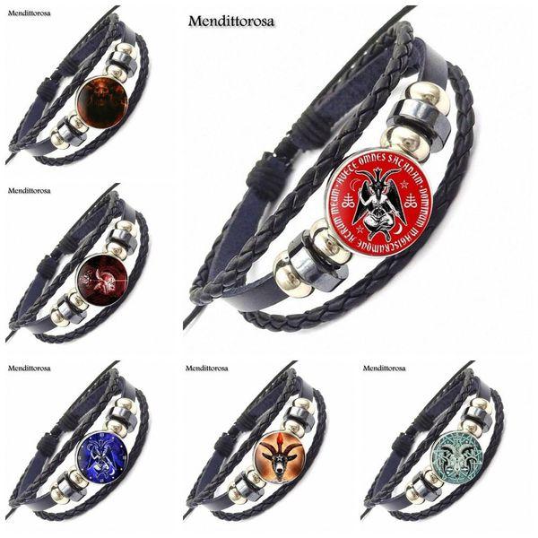 EJ Glaze Pagan Satan Fashion Jewelry Classic Glass Cabochon Black Leather Bracelet Bangle s For Wedding