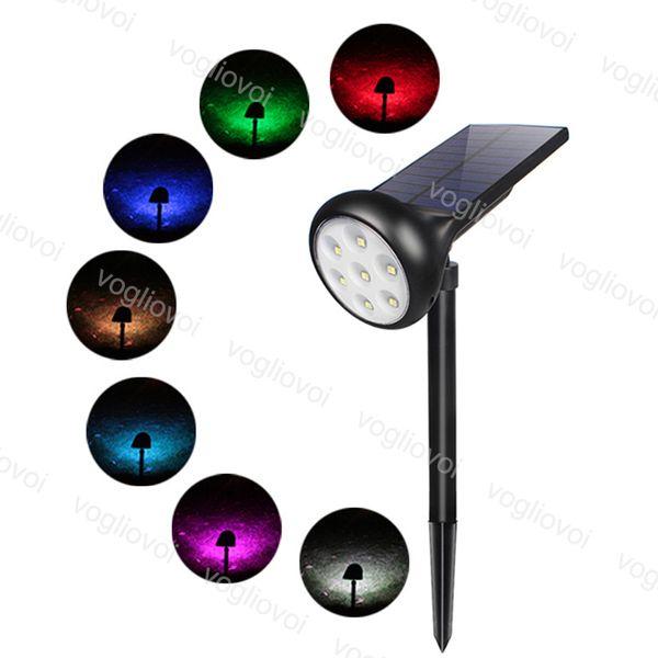 LED solare riflettori Paesaggio 7LED RGBW IP67 impermeabile Solar Powered Luce a muro 2-in-1 Wireless ABS RGB bianco caldo DHL