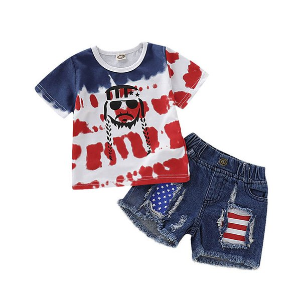 Summer Independence Day baby girls suits baby boy clothes boys clothing sets T-Shirt+hole jeans shorts 2pcs/set designer baby suits A6394