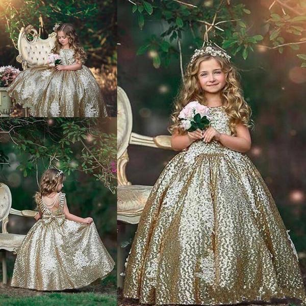 2019 Bling lentejuelas brillantes vestidos de niñas de flores apliques vestidos de fiesta de cumpleaños sin mangas Primera comunión niñas vestidos de desfile