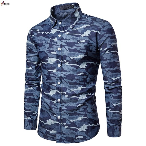 2019 New Autumn Camouflage Printed Man Casual Shirts Fashion Uniform Men Dress Shirt Breathable Men's Long Sleeve Brand Clothing