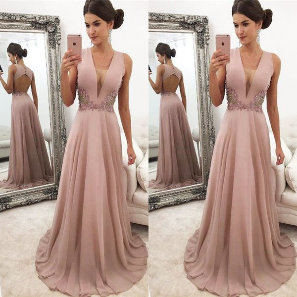 Sexy Deep V Neck Evening Dresses Long 2019 Lace Appliques Open Back A Line Chiffon Formal Women Prom Gowns Girls Party Dress
