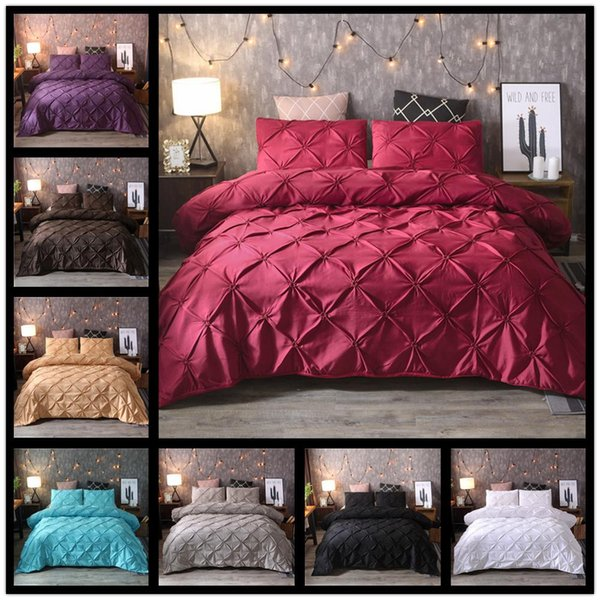 Solid color Luxury Duvet Cover Set Queen King Size Silk Flower Bedding Sets Comforter Cover Pillowcases Soft Comfortable