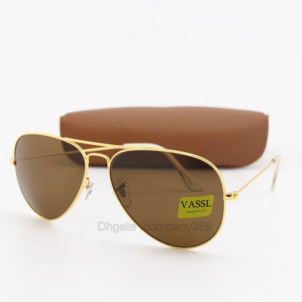 1pcs High quality Vassl Men Women Designer Classic Pilot Sunglasses Sun Glasses Gold Frame Brown 58mm and 6mm lens Eyewear Come With Box