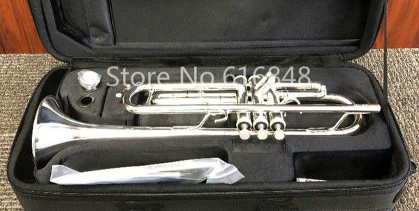 jupiter jtr-1100 brass bb trumpet silver plated instrument pearl button with mouthpiece and case ing