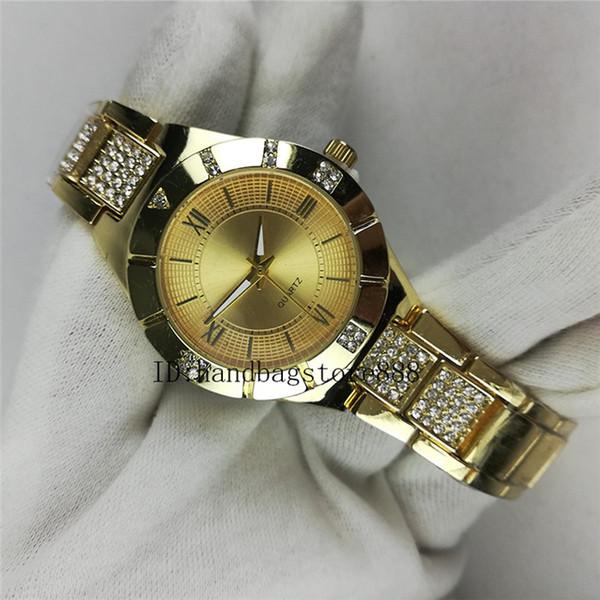 Venta al por mayor y al por menor relojes de cuarzo de diamante de 35 mm Oro caliente de Roma famosas mujeres relojes de pulsera estudiante de la noche club