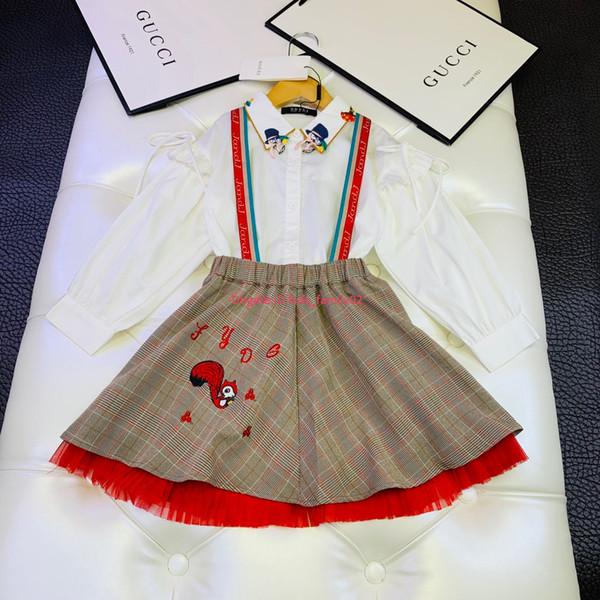Девушки одеваются набор детская дизайнерская одежда топы + ремень платье 2 шт. полиэстер ткань изысканный мультфильм вышивка осень наборы