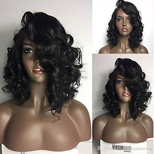 Charming Side Parting 1b# Black Short Curly Wavy Bob Lace Wig Heat Resistant Glueless Synthetic Lace Front Wigs for Black Women