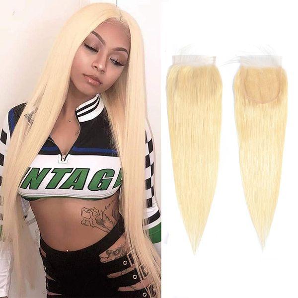 Fermeture de lacet 4X4 de cheveux humains indiens avec les cheveux de bébé fermeture en dentelle droite quatre par quatre soyeux blonde 613 # couleur