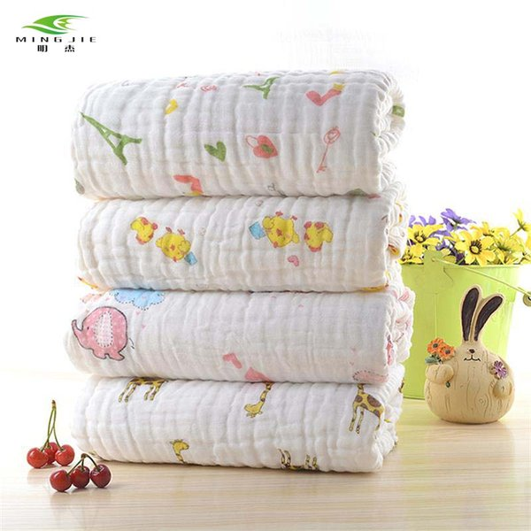 2017 6 layers Super soft breathable muslin cotton Newborn Baby swaddling gauze washed baby blanket thick bath towel Fawn pattern