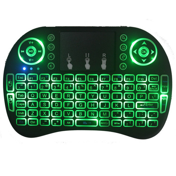 best selling Mini i8 Keyboard Backlit 2.4G Wireless Fly Air Mouse With Backlight Touchpad 3 Colours Remote Controlers For MXQ pro X96 TV Box free ups dhl