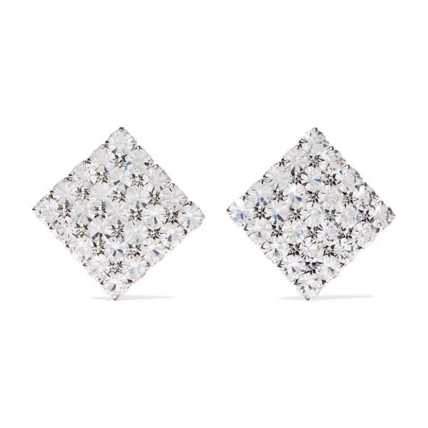 2019 Top-Qualität berühmter Designer vergoldet Platz voller Diamanten Ohrclip Art und Weise Edelstahl Ohrringe Damenbekleidung