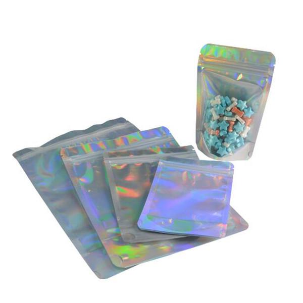 1000pcs Lazer Alüminyum Folyo Açılıp kapanabilir Değer Paketi Zip Kilidi Çanta Hologram Öz Mühür Fermuar Plastik Torbalar Bag Stand Up