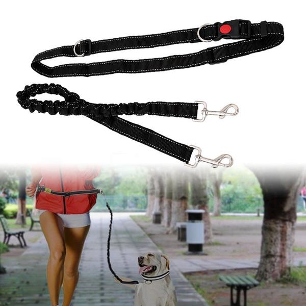 Black Pet Dog Leash Adjustable Hands Free Leash With Waist Belt For Jogging Walking Running Sports Training Dog Collar Supplies