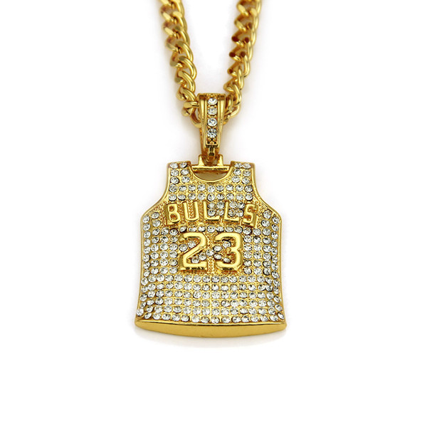Mens Bulls 23 Jersey Pendant Necklace Stainless Steel Gold Color Round Cut Rhinestone Simulated Diamonds Sporting Jewelry