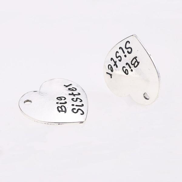 20 pcs 29.5 * 30.5 MM big brother coração forma antiga palavra inspirada encantos de prata tag pingentes para pulseira brinco diy jóias