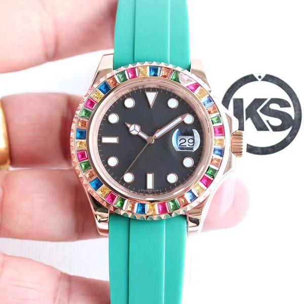 KS moda saatler, Mekanik saatler, 116695SATS dayanıklı, korozyona dayanıklı 40mm lüks erkek saatler, relogio DE luxo
