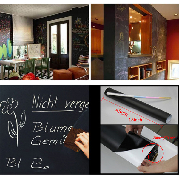 best selling Removable Chalkboard Wall Stickers Blackboard Extra Large Decal Wall Sticker Peel and Stick Vinyl PVC With Chalks Mini Portable DBC VT0206
