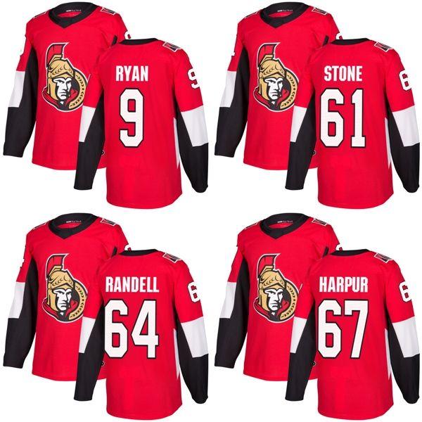 2018 New Brand Adulti Ottawa Senators 9 Bobby Ryan 61 Mark Stone 64 Tyler Randell 67 Ben Harpur Maglie di Hockey su ghiaccio a buon mercato Rosso Accetta Personalizzato