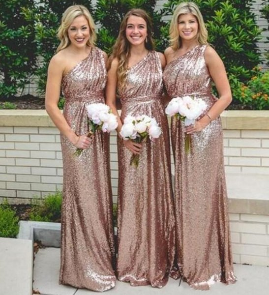 Rose Gold Sequins Long Bridesmaid Dresses Sexy One Shoulder A Line Plus Size Formal Maid of Honor Gowns Wedding Guest Prom Dresses
