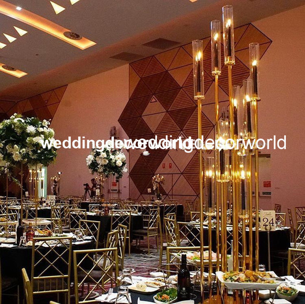 New Style Party Decoration Wedding Latest Wedding Decoration Centerpieces Metal Gold Candelabra 9 Arms Candle Holder Decor11111 Decorations Party