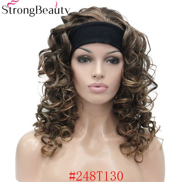 Long Brown Ombre Wig Synthetic Half Wig With Headband Long Curly Full Capless Women Wigs