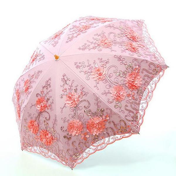 Folding Regenschirme Regenschirm regen Frauen Falten UV-Schutz Regenschirm sticken Mode Spitze bumbershoot Mode Druck Regenschirme