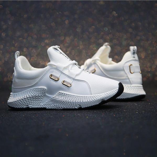 2019 Moda Kore Uçan Beyaz Tıknaz Sneakers Kalın alt Nefes Örgü bayanlar Rahat Ayakkabılar kadın Platformu Eğitmenler Sepeti Femme