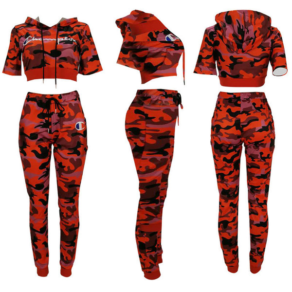 Letter Printed Tracksuits Camouflage Embroidered Hooded Hoodie Pants 2pcs/set Short Sleeve T-shirt Joggers Clothing Set LJJO6684