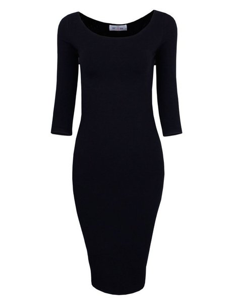 Round Collar Skinny Solid-colored Seven-minute-sleeve Knitted Dress Seven-color Four-size