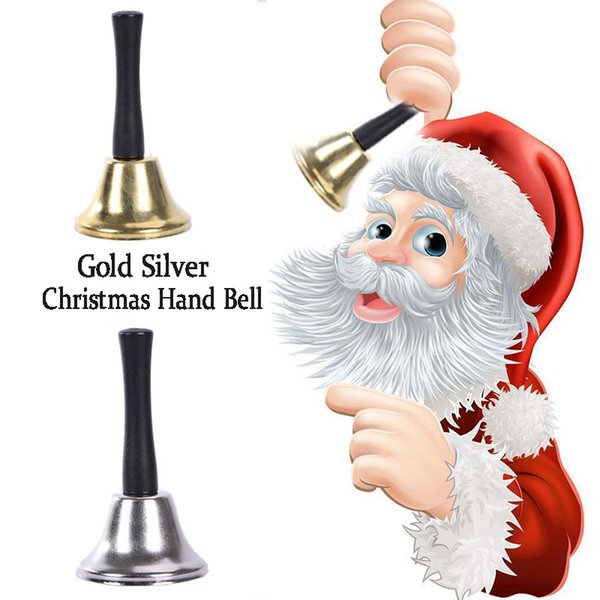 artigos de Natal Papai Noel chocalhos de madeira alça metálica de mão sinos de Natal Decoração de prata do Xmas Ano Novo ouro sinos de classe sinos pet