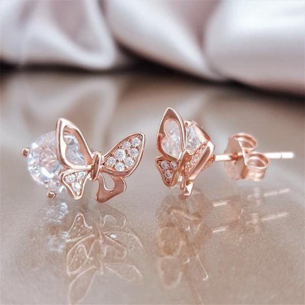 Fantasy Cute Rose Gold Crystal Butterfly Stud Earrings For Women Girl Korean Fashion Shiny Rhinestone Engagement Jewelry Z4m311