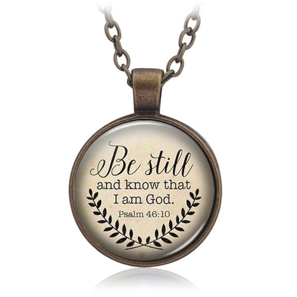 Dreamlikelin Bible Verse Silver Necklace Be Still and Know That I am God Pendant Psalm 46:10 Quote Fashion Statement Jewelry
