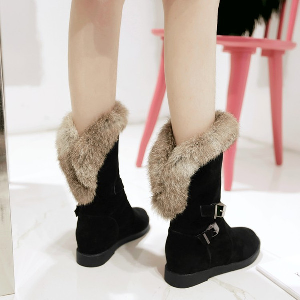 PXELENA Winter Warm Snow Boots for Women Faux Fur Buckle Hidden Med Heel Plush Ankle Boots Slip On Fashion Shoes Plus Size 34-43