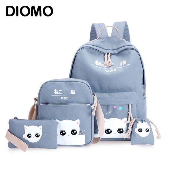 Diomo 4pcs/set Laptop School Backpacks For Girls Boys Teenagers Female Bagpack Sac A Dos Femme Cute Cat Canvas Satchel Kids Y19062401