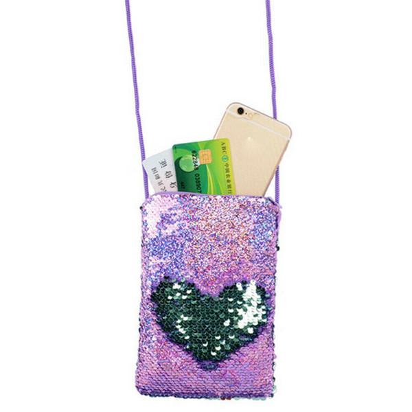 Bolsos de hombro de la moneda mujeres bolsa de tarjeta monedero Mini niñas niño niños con lentejuelas Crossbody Mensajero Pequeño teléfono móvil móvil Bolsos