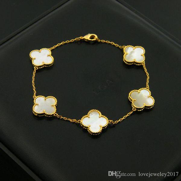 316l tainle teel hell clover bracelet with black agate four leaf clover for women ilver ro e gold flower bracelet brand named, Golden;silver