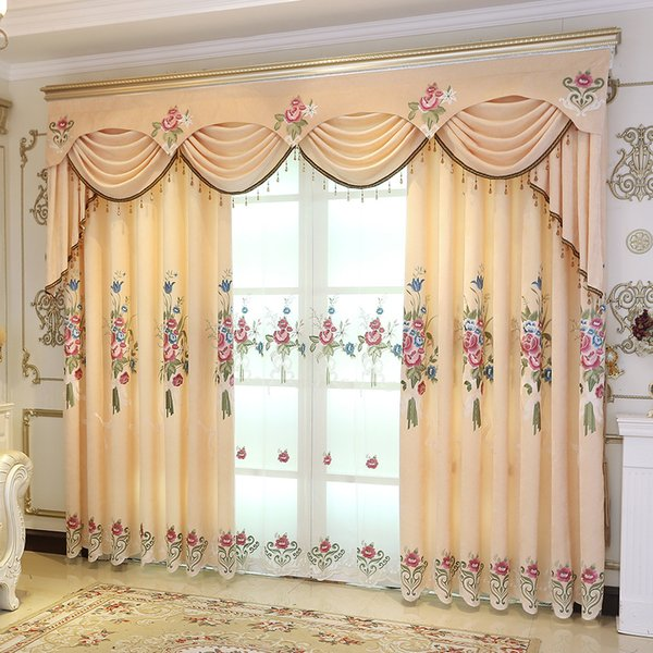 Curtains for Living Dining Room Bedroom Western Sunshade Floral Embroidered Curtain Jacquard Joyous Yellow Curtains Sheer Tulle