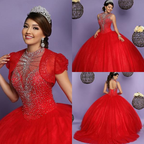 robes de bal rouge robes de quinceanera rouge avec veste col haut perlé haut gonflé sur toute la longueur dos ouvert bal robe de soirée à lacets robe 2018