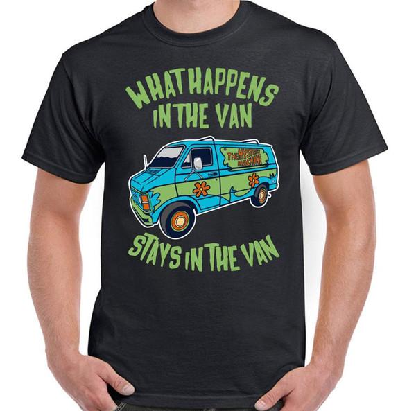 Was in der Van-Aufenthalte in der van Mens Lustige Scooby Doo T-Shirt-Karikatur