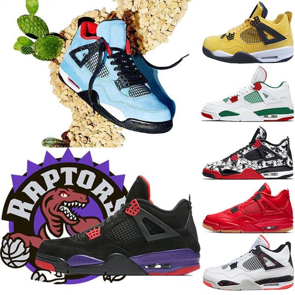 Hot Sale Bred Tattoo 4 IV 4s Men Basketball Shoes Travis Pizzeria Singles Day Black cat mens trainers designer Sports Sneakers US 7-13