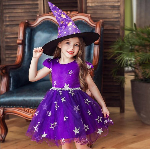 Halloween kostüm mädchen coaplay kleider mit hexenhut kleidung halloween cosplay hexe kostüm für mädchen kinder party dress kinderkleidung