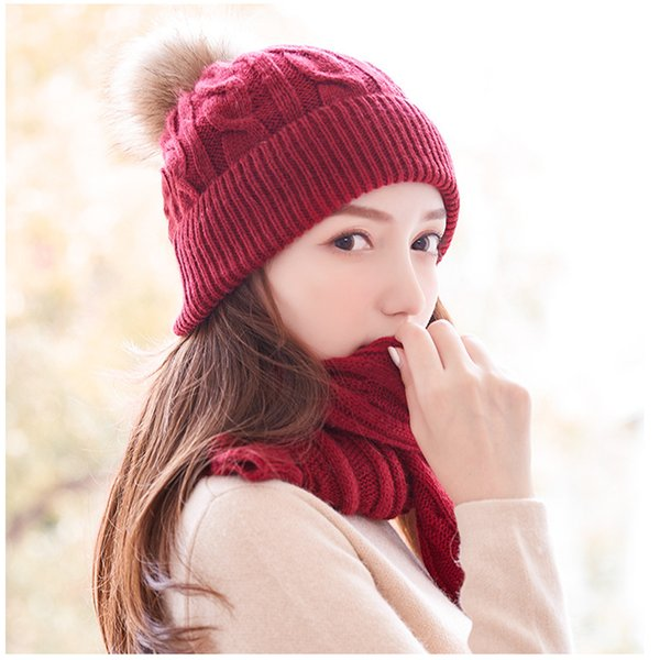 Women's winter hat scarf two-piece suit thick warm knit hat braid hair ball rabbit wool scarf