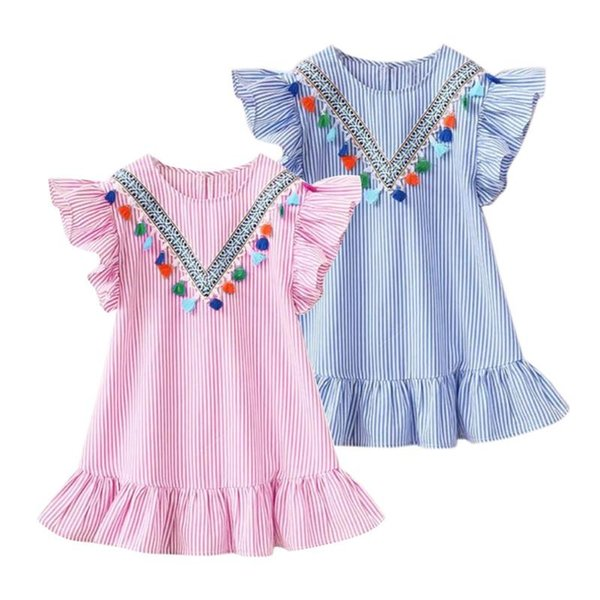 Été Mignon Bébé Filles Robe Gland Volant Manche À Rayures Robes Enfants Princesse Robe Top Vêtements Livraison Gratuite