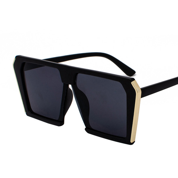 c823898f26 oversized square sunglasses women brand fashion flat top red black clear  lens one piece men gafas
