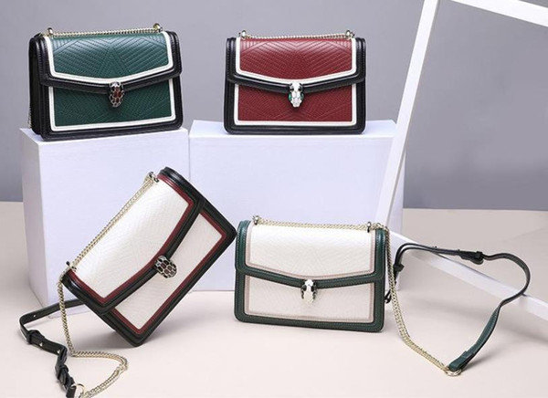 best selling Single shoulder new leather ms bag stone leather color matching chain lock aslant fashion the snake bag Women fashion bag HK